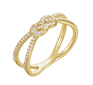 14K Yellow Gold Diamond Knot Comfort Fit Love Ring
