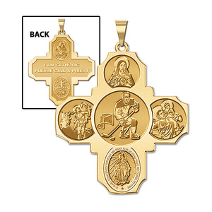 Four Way Cross   Hockey Religious Medal   EXCLUSIVE