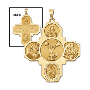 Four Way Cross   Cheerleader Religious Medal   EXCLUSIVE