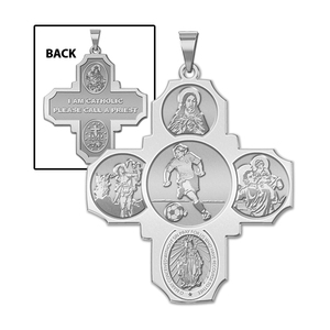 Four Way Cross   Soccer Female Religious Medal   EXCLUSIVE