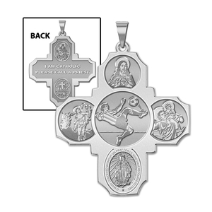 Four Way Cross   Soccer Male Religious Medal   EXCLUSIVE