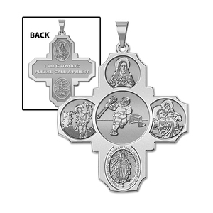 Four Way Cross   Lacrosse Religious Medal   EXCLUSIVE