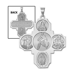 Four Way Cross   Bicycling Religious Medal   EXCLUSIVE