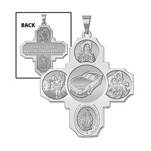Four Way Cross   Car Racing Religious Medal   EXCLUSIVE