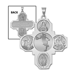 Four Way Cross   Basketball Female Religious Medal   EXCLUSIVE