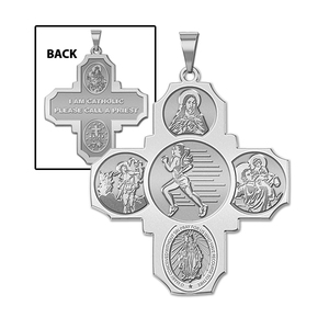 Four Way Cross   Track Female Religious Medal   EXCLUSIVE