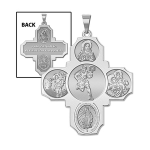 Four Way Cross   Basketball Male Religious Medal   EXCLUSIVE