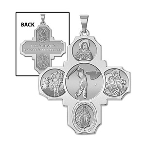 Four Way Cross   Golf Religious Medal   EXCLUSIVE