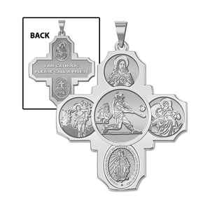Four Way Cross   Baseball Religious Medal   EXCLUSIVE
