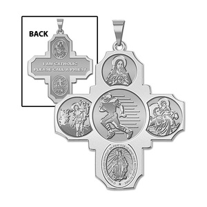 Four Way Cross   Football Religious Medal   EXCLUSIVE
