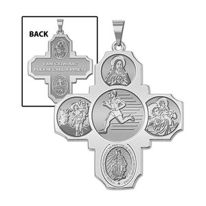 Four Way Cross   Track Male Religious Medal   EXCLUSIVE