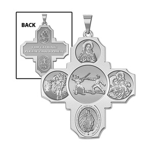 Four Way Cross   Fencing Religious Medal   EXCLUSIVE