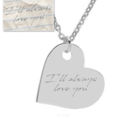Personalized Handwriting Sideways Heart Pendant
