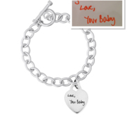 Sterling Silver Tiffany Style Handwriting Bracelet W  Toggle Lock