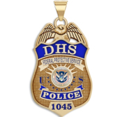 Personalized Department of Homeland Security Badge with Your Number  Your Rank  and Blue Enamel