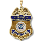 Personalized Customs and Border Patrol Badge with Your Number  Your Rank  and Blue Enamel