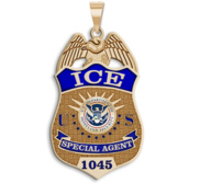 Personalized ICE Badge with Your Number  Your Rank  and Blue Enamel