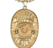 Personalized Police Badge Necklace or Charm   Shape 14