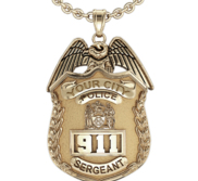 Personalized Police Badge Necklace or Charm   Shape 7