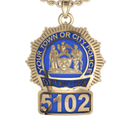Personalized Police Badge Necklace or Charm   Shape 4