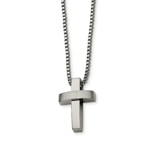 Stainless Steel Cross Pendant 22in Necklace