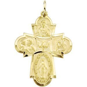 14K YELLOW GOLD 4 WAY CROSS MEDAL