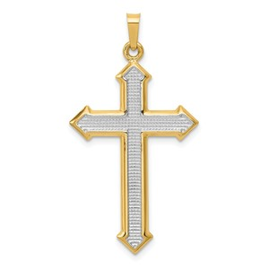 14k w Rhodium Polished and Textured Passion Cross Pendant