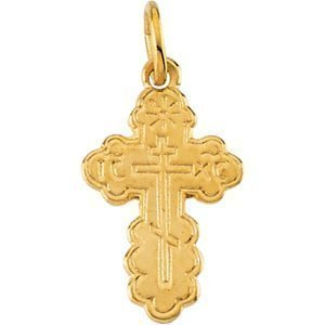 14K Yellow Gold DIE STRUCK ORTHODOX CROSS PENDANT