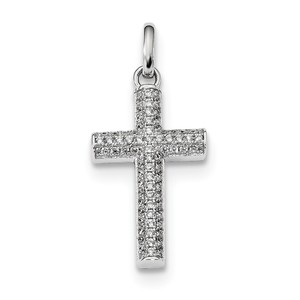 Sterling Silver Rhodium plated CZ Latin Cross Pendant