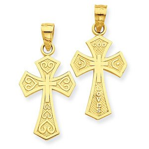 14k Yellow Gold Reversible  God Loves  Cross Pendant