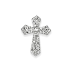 14k White Gold Passion Diamond Cross Pendant