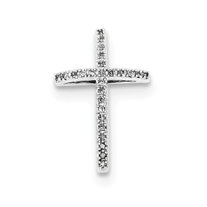Sterling Silver Rhodium plated Diamond Cross Pendant