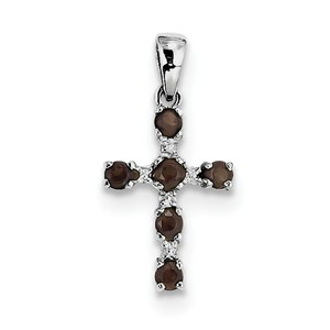 Sterling Silver Rhodium Smoky Quartz   Diamond Cross Pendant