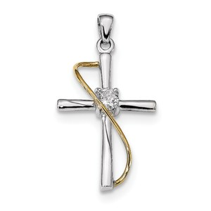 Sterling Silver Rhodium   Gold tone Polished w CZ Cross Pendant