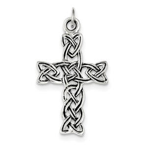 Sterling Silver Antiqued Celtic Cross Pendant