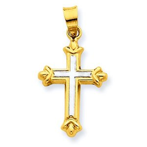 14k Two tone IHollow Cross Pendant