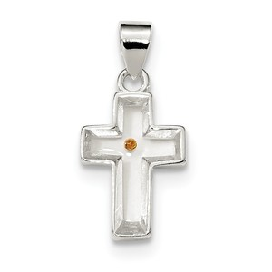 Sterling Silver Enameled with Mustard Seed Cross Pendant