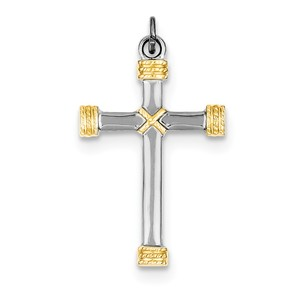 Sterling Silver Rhodium plated   18k Gold plated Rope Cross Pendant