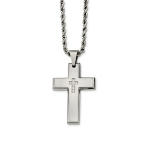 Stainless Steel Cross with CZs Pendant Necklace