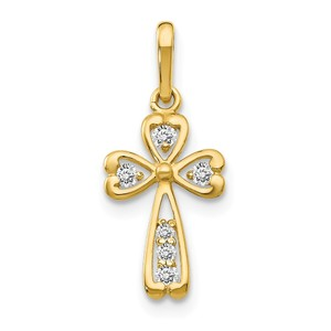 14k CZ Children  s Cross Pendant