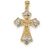 14k w Rhodium Polished D C Filigree Cross Pendant