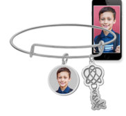 Expandable   Photo Charm Expandable Bracelet with Dyslexia Tag