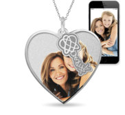Heart Photo Pendant Charm with Dyslexia Tag