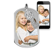 Photo Engraved Dog Tag Photo Pendant with Dyslexia Tag