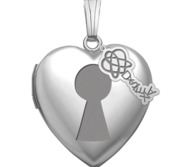 Sterling Silver Heart Photo Dyslexia Key Locket