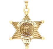 Personalized 6 Point Star Georgia Sheriff Badge with your Dept   Rank and Number