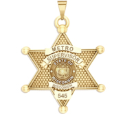 Personalized 6 Point Star Wisconsin Sheriff Badge with your Dept   Rank and Number