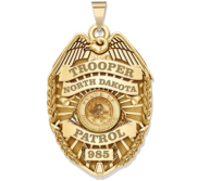 Personalized North Dakota Trooper Badge with Your Rank  Number   Department