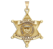 Personalized 6 Point Star Arizona Sheriff Badge with Rank  Number   Dept