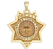 Personalized 7 Point Star Arizona Sheriff Badge with Rank  Number   Dept